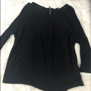 Zara Basic Black Top w/Back Zipper Size Small